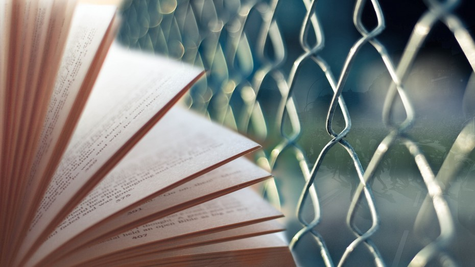 Illustration photo: book/fence